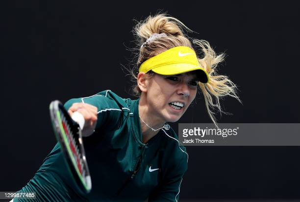 Katie Boulter of Great Britain serves in her Women's Singles Second Round Match against Cori Gauff of The United States of America during day three...