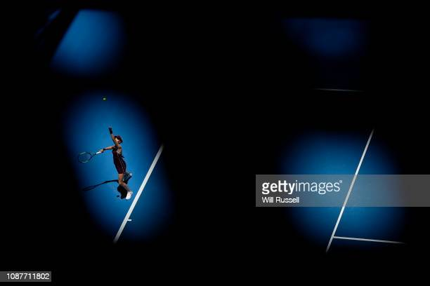 Katie Boulter of Great Britain serves to Maria Sakkari of Greece in the womens singles match during day one of the 2019 Hopman Cup at RAC Arena on...
