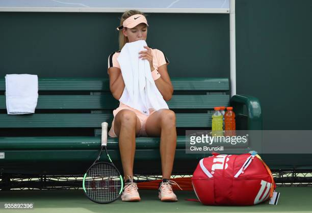 Katie Boulter of Great Britain shows her dejection against SuWei Hsieh of Taipei in their first round match during the Miami Open Presented by Itau...