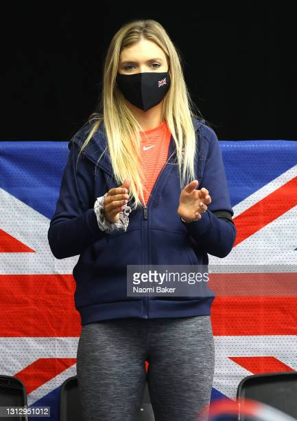 Katie Boulter of Great Britain support from the stands during day two of the Billie Jean King Cup Play-Offs between Great Britain and Mexico at...