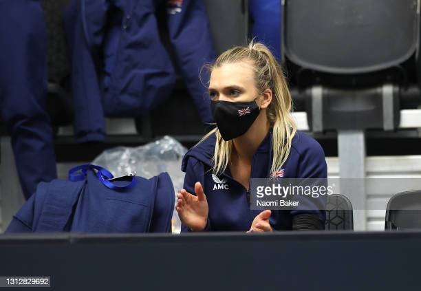Katie Boulter of Great Britain supports from the bench during match two between Heather Watson of Great Britain and Giuliana Olmos of Mexico during...