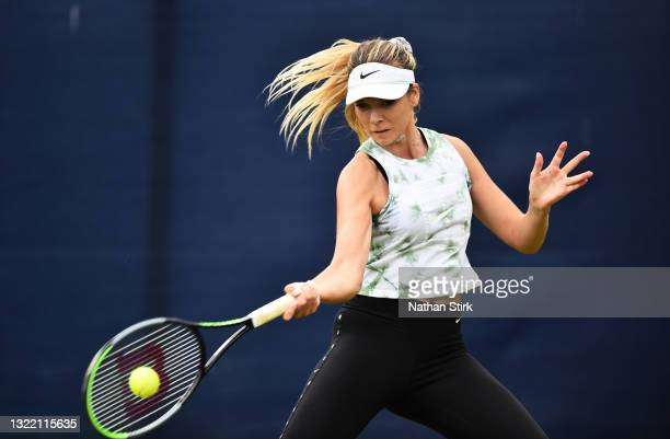 Katie Boulter of Great Britain takes part in a training session during day 2 of the Viking Open at Nottingham Tennis Centre on June 06, 2021 in...