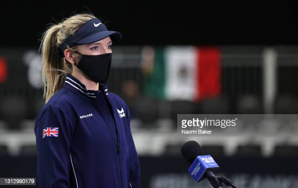 Katie Boulter of Great Britain talks to the media after match four between Katie Boulter of Great Britain and Giuliana Olmos of Mexico during day two...