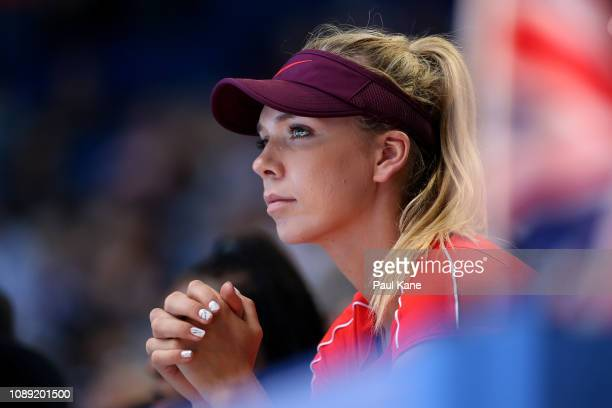 Katie Boulter of Great Britain watches the men's singles match between Cameron Norrie of Great Britain and Frances Tiafoe of the United States during...