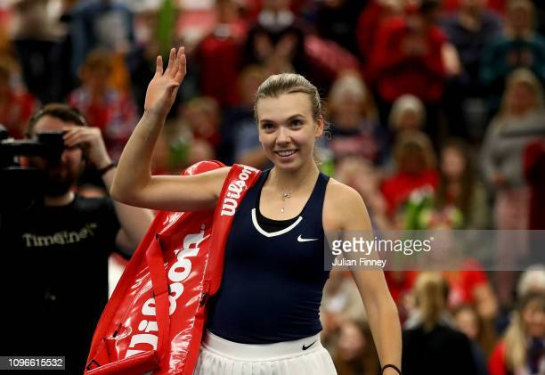Katie Boulter of Great Britain waves to the crowd after victory in her promtional playoff match against Ivana Jorovic of Serbia on day four of the...