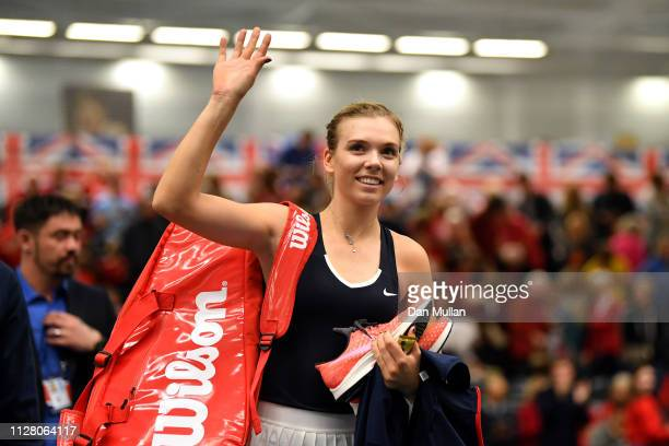 Katie Boulter of Great Britain waves to the crowd as she leaves the court after winning her Europe/Africa Group A match against Valentini...