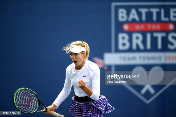 Katie Boulter of Union Jack celebrates in her singles match against Johanna Konta of British Bulldogs during day two of the St James's Place Battle...