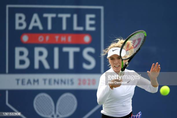 Katie Boulter of Union Jack plays a forehand in her singles match against Johanna Konta of British Bulldogs during day two of the St James's Place...