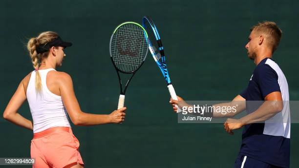 Katie Boulter of Union Jacks celebrates a point with doubles partner Lloyd Glasspool in their match against Liam Broady and Harriet Dart of British...