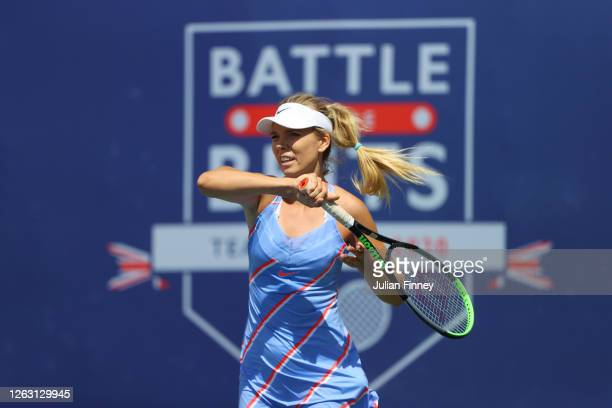 Katie Boulter of Union Jacks in action during her women's singles match against Beth Grey of British Bulldogs during day six of the St James's Place...