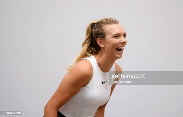 Katie Boulter of Union Jacks looks on during a Preview Day prior to the St James's Place Battle Of The Brits Team Tennis at The National Tennis...