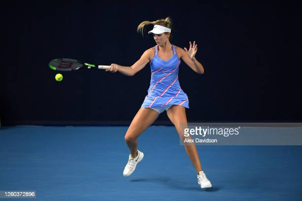 Katie Boulter of Union Jacks plays a forehand in her match against Emma Raducanu of British Bulldogs during Day One of the St James's Place Battle Of...