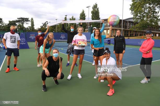 Katie Boulter of Union Jacks poses after with a birthday cake after being surprised by her team during day six of the St James's Place Battle of The...