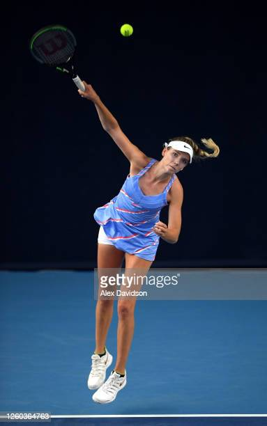Katie Boulter of Union Jacks serves in her match against Emma Raducanu of British Bulldogs during Day One of the St James's Place Battle Of The Brits...