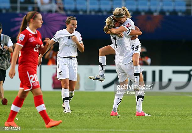 Katie Bowen of New Zealand celebrate with team mate Hannah Wilkinson after the FIFA U20 Women's World Cup 2012 group A match between New Zealand and...