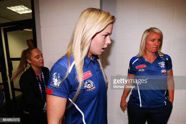 Katie Brennan leaves after being found guilty during the AFLW tribunal at AFL House on March 20 2018 in Melbourne Australia