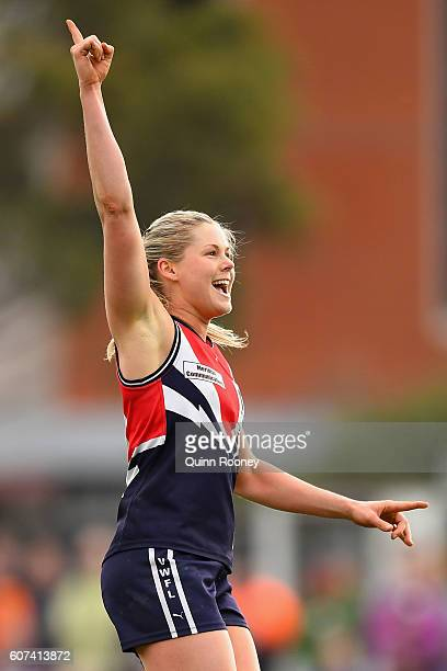 Katie Brennan of Darebin celebrates kicking a goal during the VFL Women's Grand Final between Darebin v Melbourne University on September 18 2016 in...