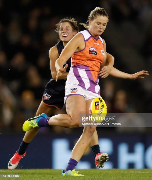 Katie Brennan of the Allies in action during the AFL Women's State of Origin match between Victoria and the Allies at Etihad Stadium on September 2...