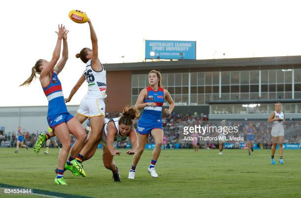 Katie Brennan of the Bulldogs and Chelsea Randall of the Crows compete for the ball during the 2017 AFLW Round 02 match between the Western Bulldogs...