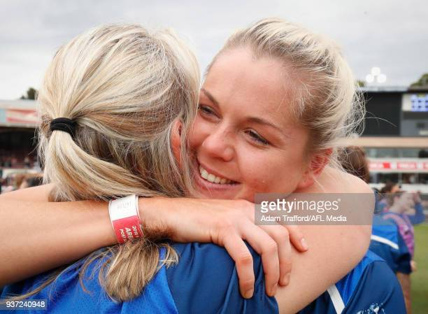 Katie Brennan of the Bulldogs celebrates with Debbie Lee GM of women football at the Bulldogs during the 2018 AFLW Grand Final match between the...