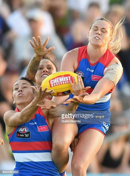 Katie Brennan of the Bulldogs flies for a mark during the round two AFL Women's match between the Western Bulldogs and the Adelaide Crows at Whitten...
