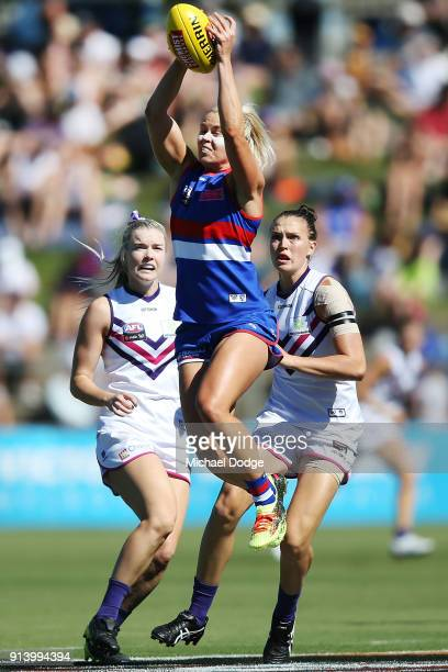 Katie Brennan of the Bulldogs marks the ball during the round one AFLW match between the Western Bulldogs and the Fremantle Dockers at Whitten Oval...