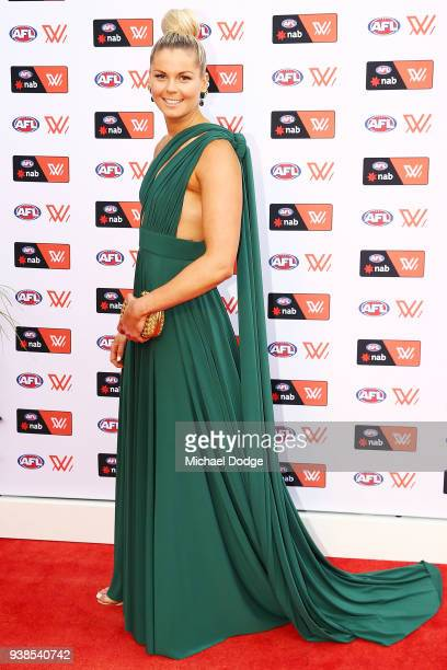 Katie Brennan of the Bulldogs poses the 2018 AFW Awards at The Peninsula on March 27 2018 in Melbourne Australia