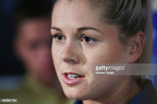 Katie Brennan speaks to media during a Western Bulldogs AFLW media opportunity at Victoria University Whitten Oval on March 19 ahead of this...