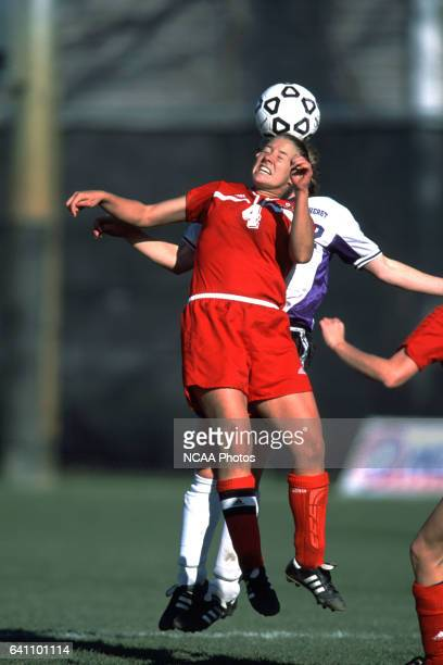 Katie Buchert heads the ball during the Divison 3 Women's Soccer Championships held at Roy Rike Field on the campus of Ohio Wesleyan University,...