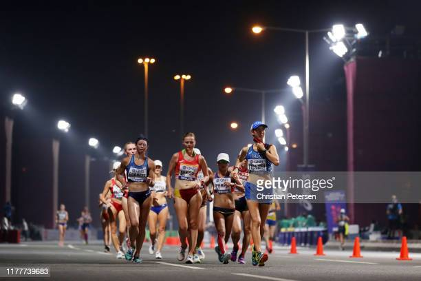 Katie Burnett of the United States, Júlia Takács of Spain and Nicole Colombi of Italy compete in the Women's 50 Kilometres Race Walk final on day two...