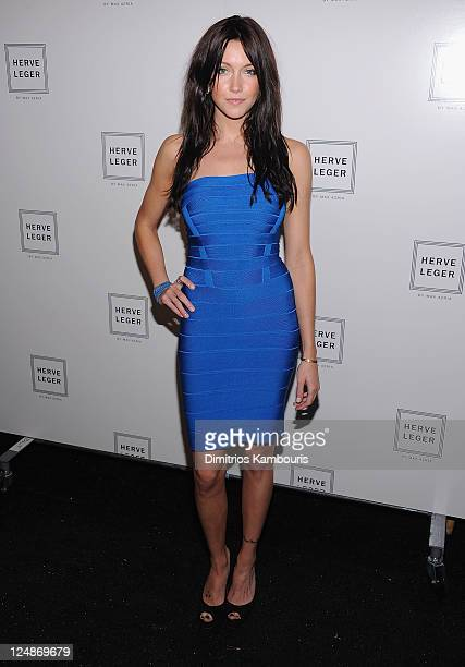 Katie Cassidy attends the Herve Leger by Max Azria Spring 2012 fashion show during Mercedes-Benz Fashion Week at The Theater at Lincoln Center on...