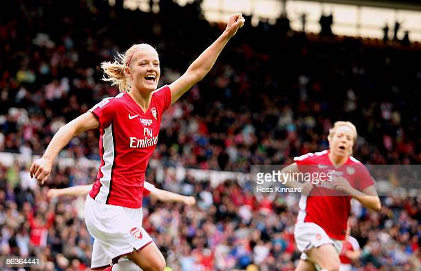 Katie Chapman of Arsenal celebrates after scoring the opening goal during the FA Women's Cup sponsored by EON final between Arsenal LFC and...