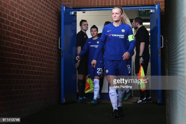 Katie Chapman of Chelsea makes her way out of the tunnel for the second half during the WSL match between Chelsea Ladies and Everton Ladies at The...
