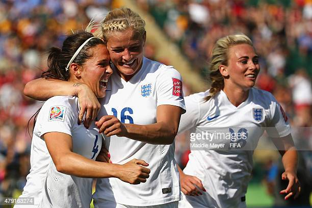 Katie Chapman of England congratulates Fara Williams after she scored a penalty kick during the FIFA Women's World Cup Canada 2015 semi final match...