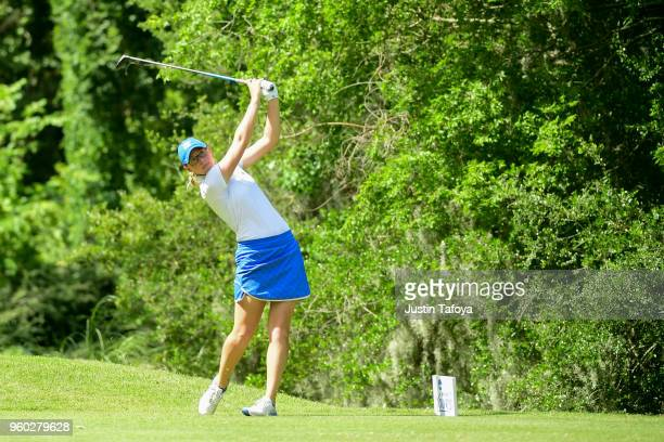 Katie Chipman of Grand Valley State tees off during the Division II Women's Golf Championship held at Bay Oaks Country Club on May 19 2018 in Houston...
