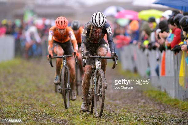 Katie Clouse of The United States / Inge Van Der Heijden of The Netherlands / Mud / during the 71st Cyclocross World Championships Dübendorf 2020,...