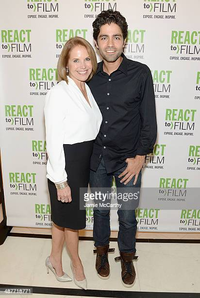 Katie Couric and Adrian Grenier attend the React To Film Awards on May 1 2014 in New York City