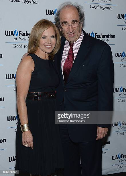 Katie Couric and Andy Lack attend UJAFederation Of New York BroadcastCable And Film Award Celebration at The Edison Ballroom on April 9 2013 in New...