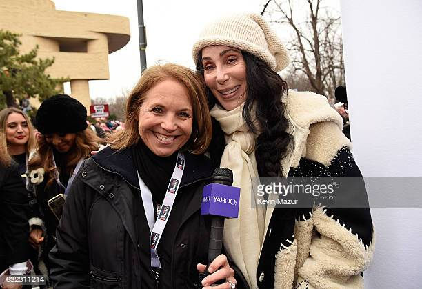 Katie Couric and Cher attend the rally at the Women's March on Washington on January 21 2017 in Washington DC