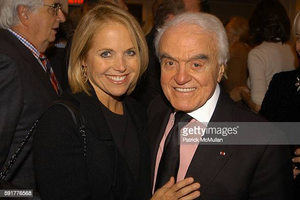 Katie Couric and Jack Valenti attend A Celebration of Mike Wallace's New Book 'Between You and Me' at Arabelle on October 25 2005 in New York City