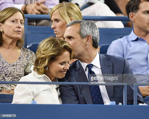 Katie Couric and John Molner attend day 10 of the 2014 US Open at USTA Billie Jean King National Tennis Center on September 3, 2014 in New York City.