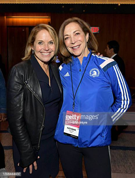 Katie Couric and Kathrine Switzer attend The 2020 MAKERS Conference at the InterContinental Los Angeles Downtown on February 10 2020 in Los Angeles...