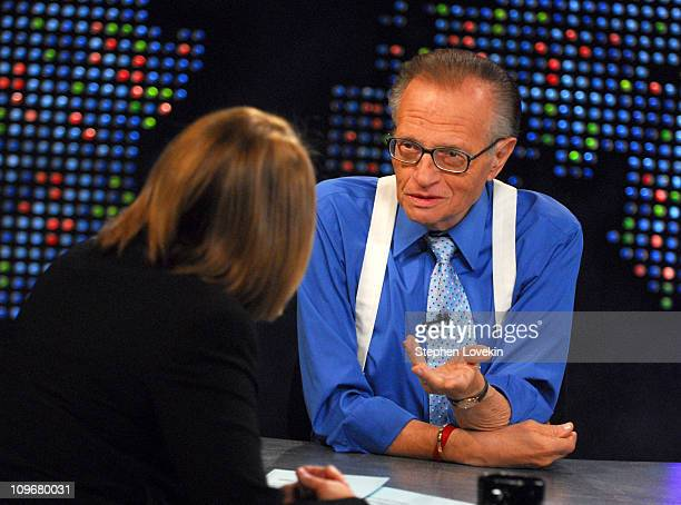 """Katie Couric and Larry King 13420_068.JPG during """"Larry King Live"""" with Guest Katie Couric - May 1, 2007 at CNN Studio in New York City, New York,..."""