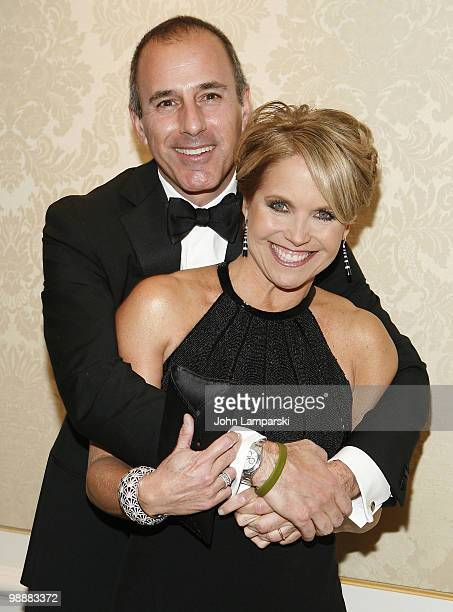 Katie Couric and Matt Lauer attend the Museum of the Moving Image Honoring of Katie Couric Phil Kent at the St Regis Hotel on May 5 2010 in New York...