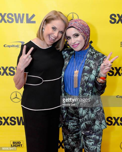 Katie Couric and Mona Haydar attend Katie Couric podcast LIVE The Muslim Next Door during SXSW at Austin Convention Center on March 11 2018 in Austin...