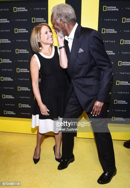 Katie Couric and Morgan Freeman attend the 2017 National Geographic FURTHER FRONT at Jazz at Lincoln Center's Frederick P. Rose Hall on April 19,...