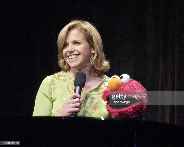 Katie Couric and Sesame Street's Elmo during Sesame Street Celebrates 35 Years of Making A Difference in the Lives at Gala Honoring Kofi and Nane...