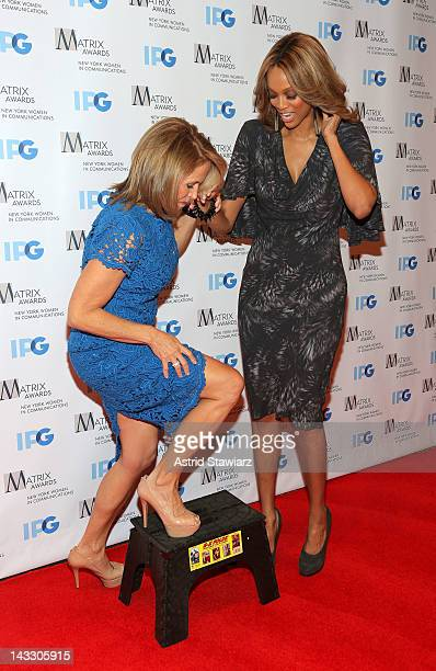Katie Couric and Tyra Banks attend the 2012 Matrix Awards Luncheon at Waldorf Astoria Hotel on April 23 2012 in New York City