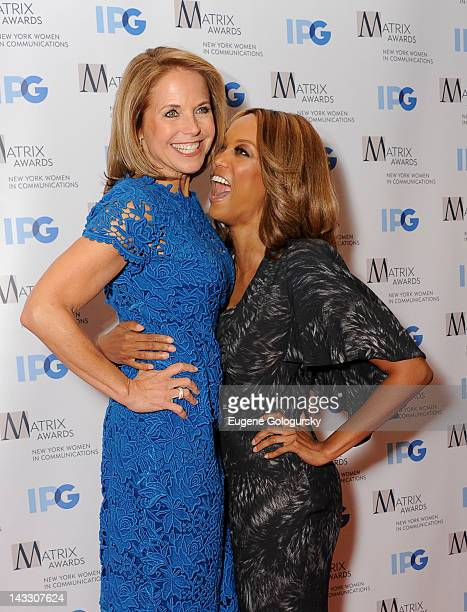 Katie Couric and Tyra Banks attend the 2012 Matrix Awards Luncheon at The Waldorf=Astoria on April 23 2012 in New York City