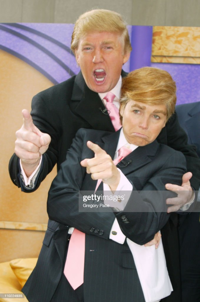 Katie Couric as Donald Trump and Donald Trump during Halloween at the 'Today' Show at Rockefeller Plaza in New York City, New York, United States.